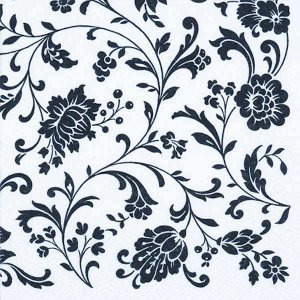 Servetti, kahvi, 24x24 cm -Arabesque White, white-black