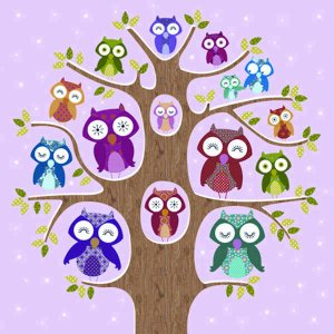 Servetti, kahvi, 24x24 cm - Owl Family Tree, pink